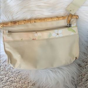 Bamboo top little makeup clutch or accessories bag